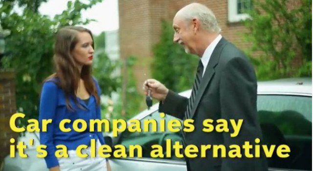 Frame from lobbying video, 'Dirty Secrets of Electric Cars,' issued by Fueling U.S. Forward