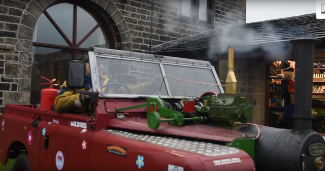 Frank Rothwell and the Land Rover he converted to a coal-powered steam engine [frame: YouTube]