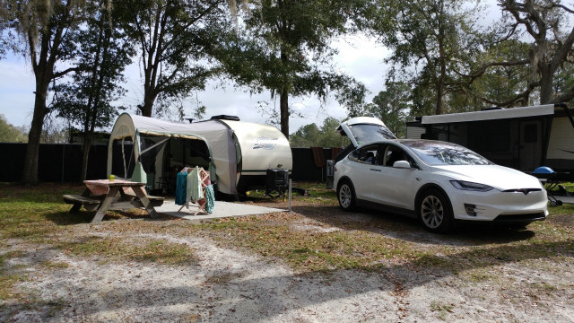 Fred and Jenny Hooper's 2018 Tesla Model X camping with R-Pod trailer in Sanford, Florida