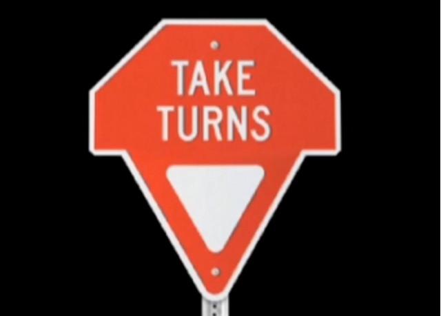 Gary Lauder's Take Turns sign