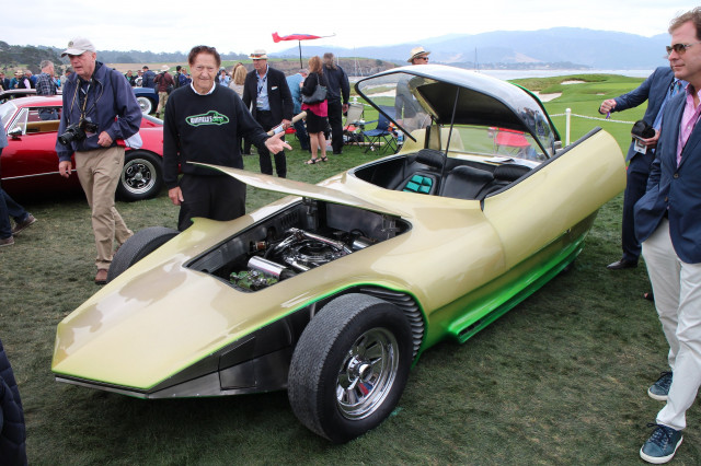 Gene Winfield with 1964 Reactor Custom Coupe, 2017 Pebble Beach Concours d'Elegance