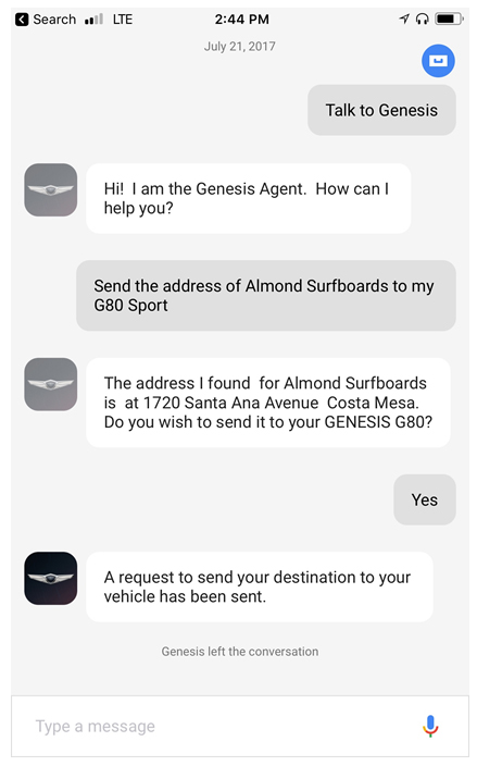 Genesis owners can control their cars via Google Assistant