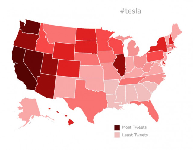 Geotagged tweets about Tesla, Oct 18-Nov 18, 2017, mapped by state [analysis: Gearheads.org]
