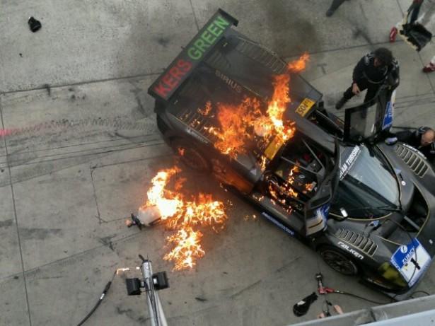 Glickenhaus Ferrari P4/5 Competizione on fire at the 2012 Nürburgring 24 Hour. Image via Facebook.