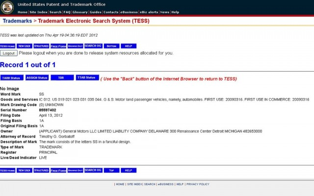 """GM patent filing for """"SS"""" name"""