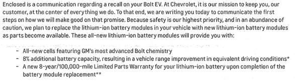 GM warranty communication on 2017 Chevy Bolt EV - August 2021