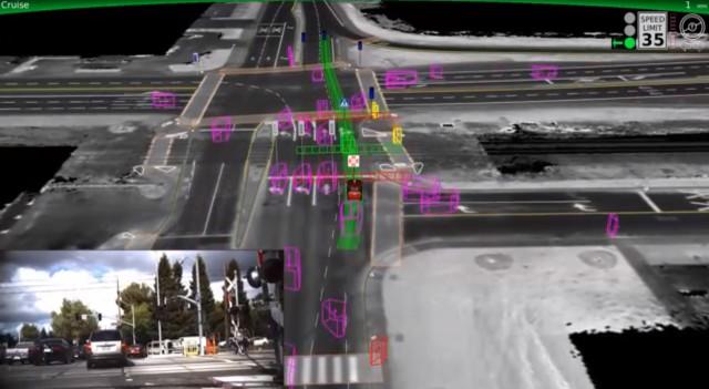 Google self-driving car demonstration screencap