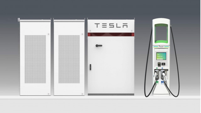 Graphic showing Electrify America DC fast chargers with Tesla Powerpack battery
