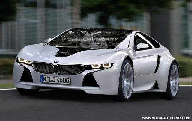 Green BMW sports car based on Vision EfficientDynamics Concept rendering