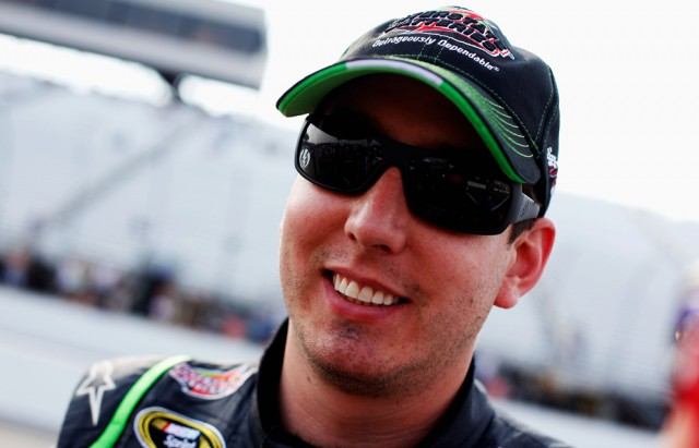 Happy New Hampshire polesitter Kyle Busch - NASCAR photo