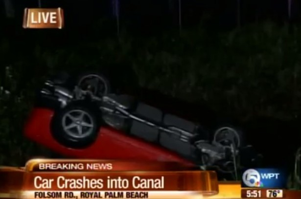 Hertz Corvette flipped into Florida canal