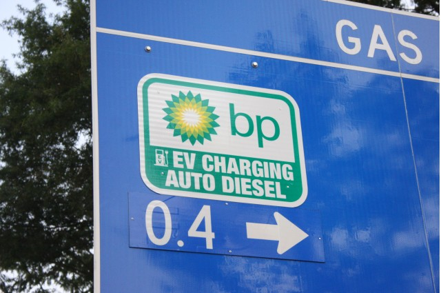 Highway Sign For Electric Car Fast Charging Station At Bp In Metrolina Area Of