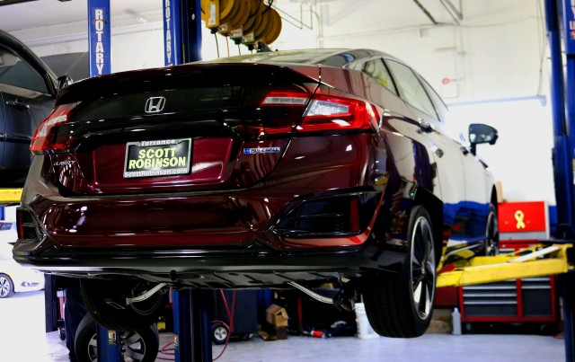 Honda Clarity Fuel Cell on lift at dealership