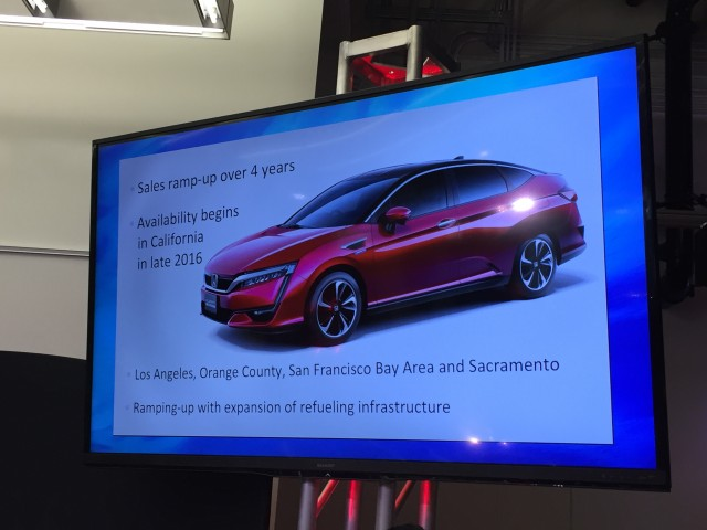 Honda Clarity presentation slide from 2015 Los Angeles Auto Show event