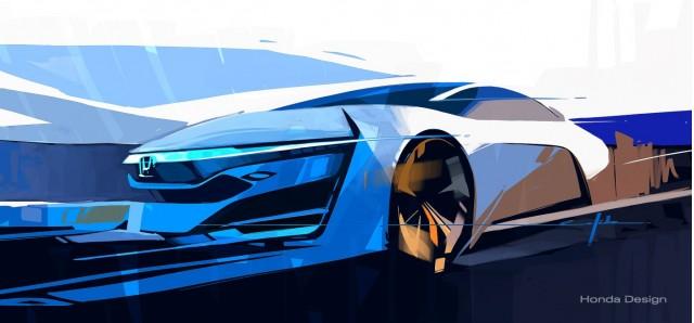 Honda FCEV Concept teaser sketch, 2013 Los Angeles Auto Show