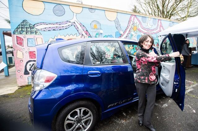 Honda Fit EV at launch, Northeast Portland community electric car sharing program  [PhotosByKim LLC]