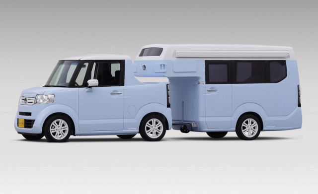 Honda N-Truck and N-Camp travel trailer concept, Japanese Camping Car Show, Feb 2015