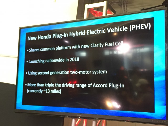 Honda plug-in hybrid presentation slide from 2015 Los Angeles Auto Show event