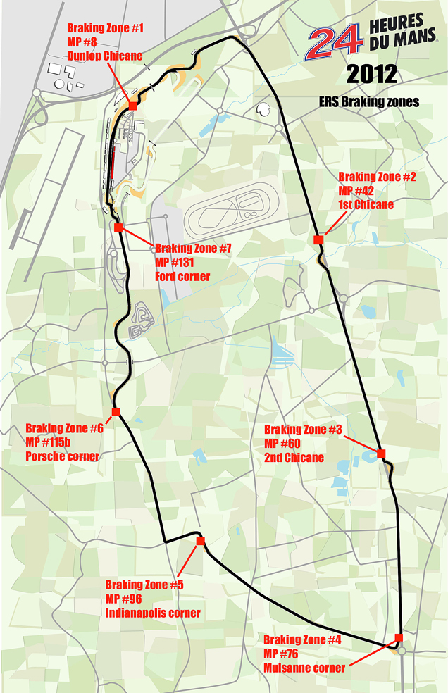 Hybrid transmission zones for Le Mans - image courtesy ACO