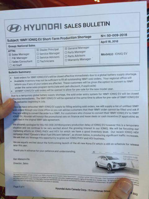 Hyundai Canada sales bulletin announcing shortage of Ioniq Electrics