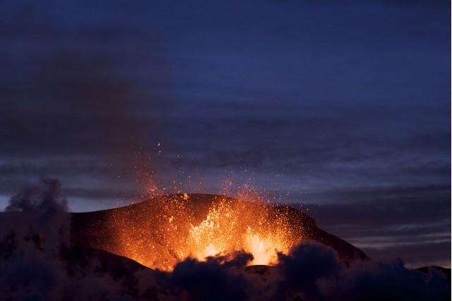 Iceland's Fimmvorduhals volcano erupts. Image: Henrik Thorburn  http://en.wikipedia.org/wiki/File:Fimmvorduhals_2010_03_27_dawn.jpg