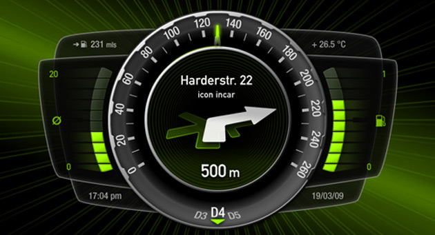 Some of the stats displayed include time, fuel consumption, speed, and navigation directions
