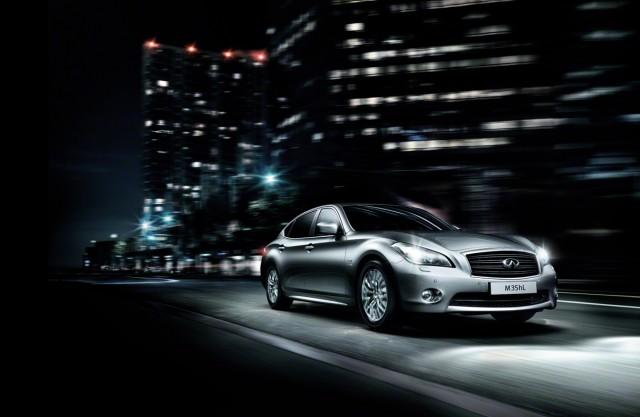 Infiniti's M35hL extended wheelbase hybrid sedan, from the 2012 Beijing Auto Show