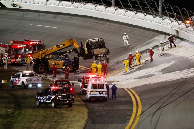 It took 2 hours and some Tide detergent to clean the track - Photo courtesy NASCAR