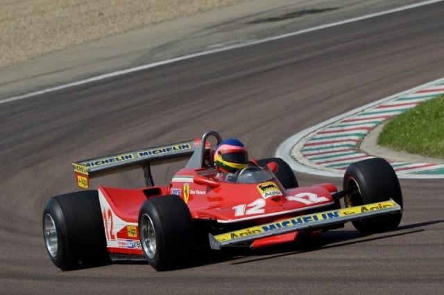 Jacques Villeneuve drives his father's 1979 Ferrari 312 T4 at Fiorano