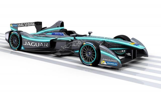 Jaguar electric race car for season three of the Formula E Championship