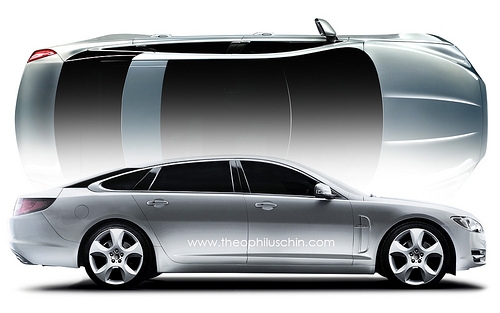 Jaguar XJ, rendered by Theophilus Chin