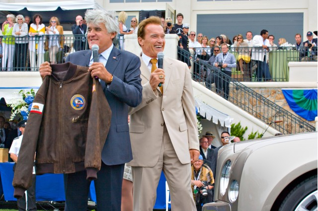 Jay Leno and Arnold Schwarzenegger at the 2009 Pebble Beach Concours d'Elegance