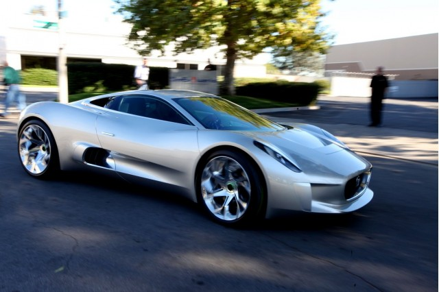 Jay Leno drives the Jaguar C-X75 Concept