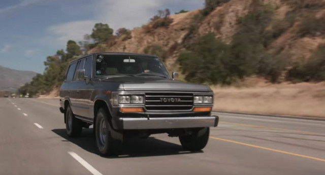 Jay Leno inspects a trio of late 80's Toyota Land Cruisers