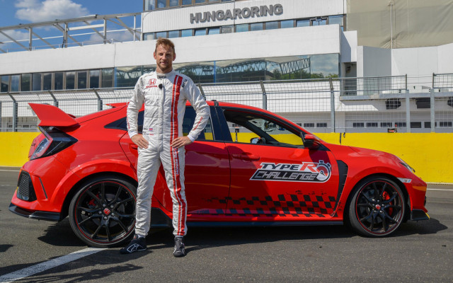 Jenson Button drives the 2017 Honda Civic Type R at the Hungaroring