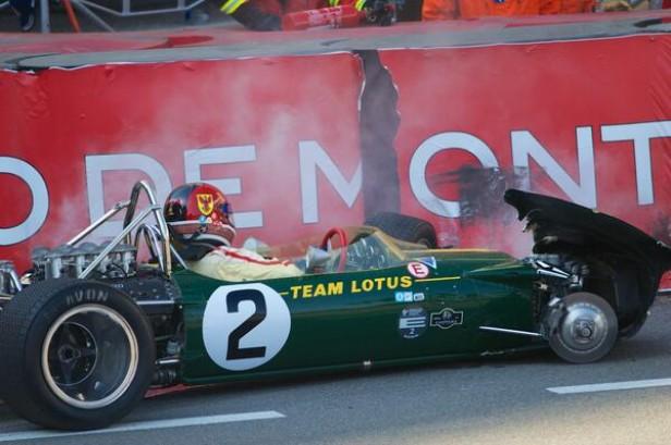 Jim Clark's Lotus 49 crashed at Monaco. Photo via Axis of Oversteer @axisofoversteer