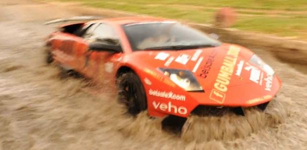 Jon Olsson's Lamborghini crossing water after Gumball 3000