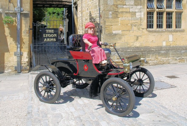 Joy Rainey in her 1904 Curved Dash Oldsmobile