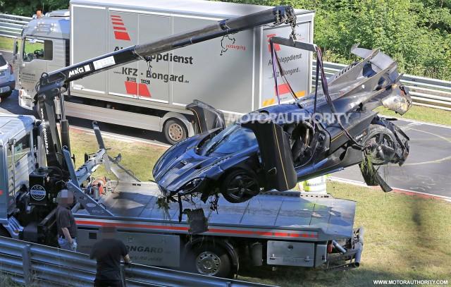 Koenigsegg One:1 crash on the Nürburgring - Image via S. Baldauf/SB-Medien