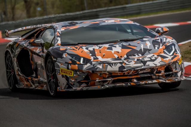 Lamborghini Aventador SVJ during Nürburgring lap record attempt