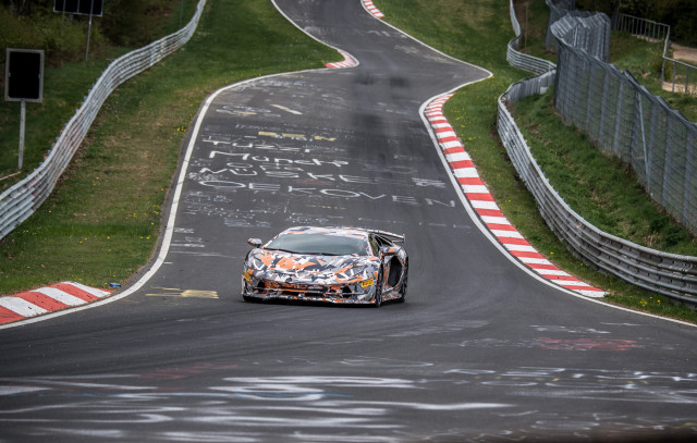 Lamborghini Aventador SVJ during Nürburgring lap record attempt