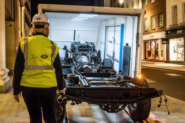 The Selfridges Edition Land Rover Defender Works V8 is under construction