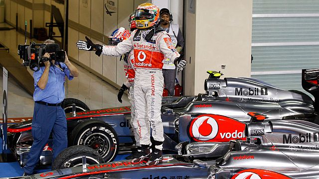 Lewis Hamilton after winning the 2011 Formula 1 Abu Dhabi Grand Prix