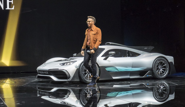 Lewis Hamilton Introduces The Mercedes AMG Project One At The 2017  Frankfurt Motor Show