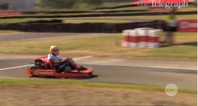 Lewis Hamilton shows his karting ability at Eastern Creek, near Melbourne, Australia