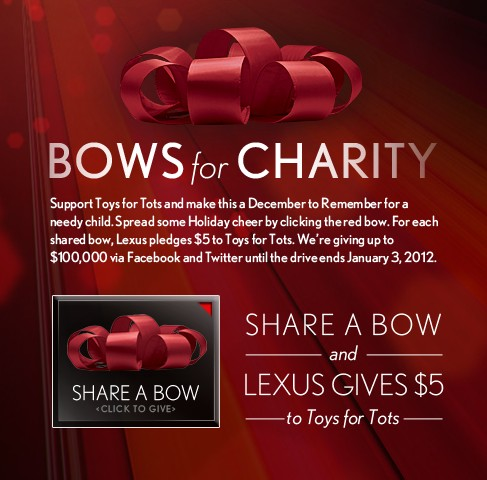 Lexus' 'big red bow' promotion to support Toys For Tots