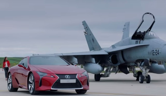 Watch the Lexus LC take on a fighter jet