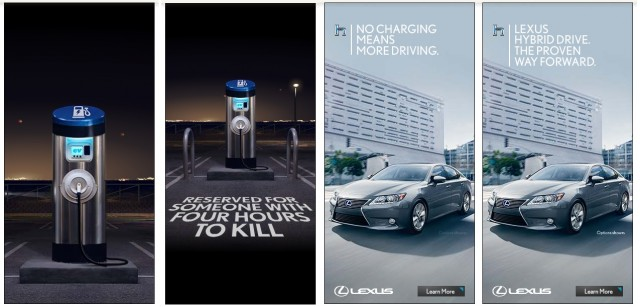 Graphics from Lexus video criticizing electric car, May 2014 [collated by ChargedEVs.com]