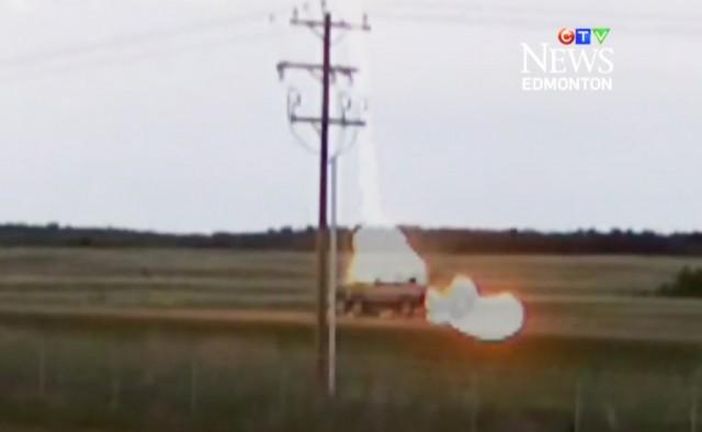 Watch A Pickup Truck Get Struck By Lightning Video