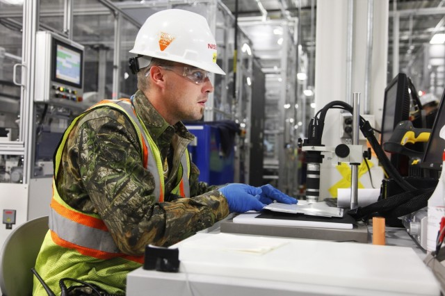 Lithium-ion cells inspected under microscope for defects at Nissan fabrication plant in Smyrna, TN